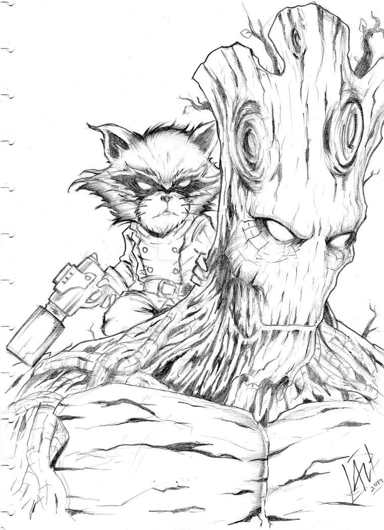 rocket raccoon an grootbangali on deviantart