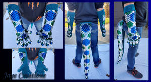 Blue Green and Frost Gauntlet and Tail Set