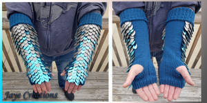 Large Sky Blue to Pewter Gradient Knit Dragon Arms