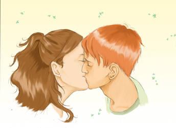 Ron Hermione Kiss by Siccia