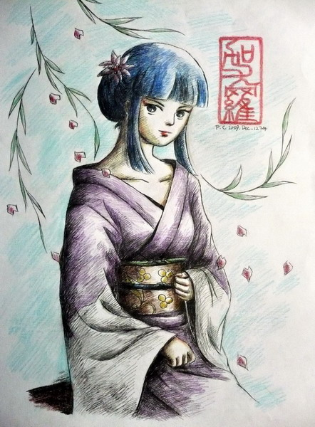 Kayura in a kimono.