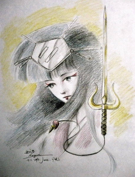 Sketch of Kayura's face in her kimono and one of her swords.