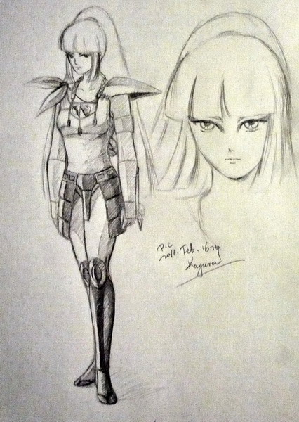 Sketch of Kayura in her armor and a face close-up