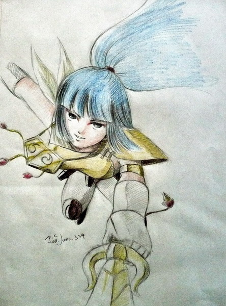 Kayura in armor attacking from above.