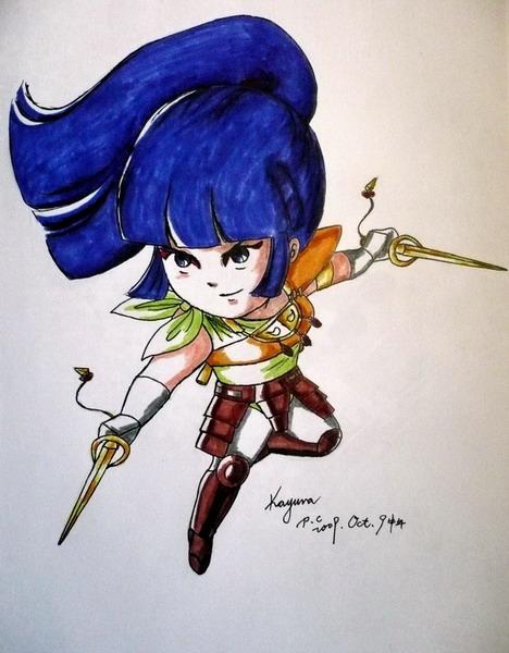 Chibi Kayura in armor.