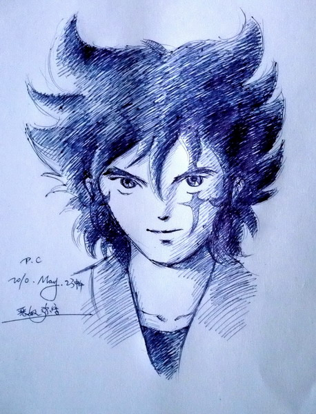 Pen sketch of Cale/Anubisu's face.