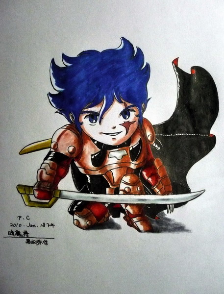 Chibi Cale/Anubisu in armor without his helmet.
