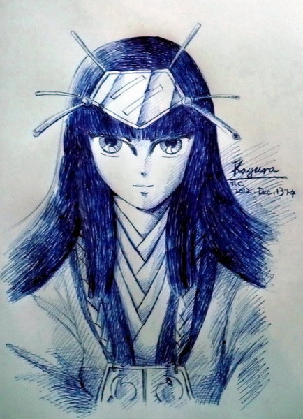 Blue pen sketch of Kayura in her kimono.