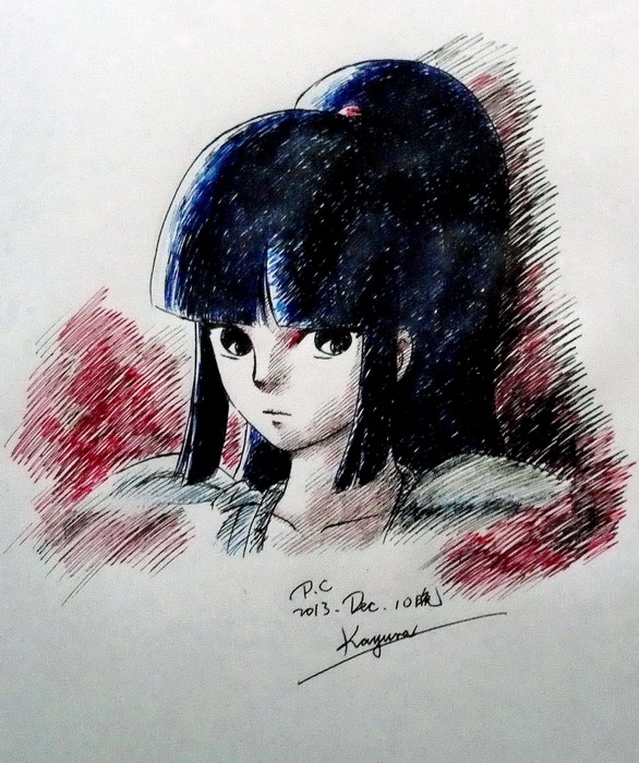 Pen sketch of Kayura in armor