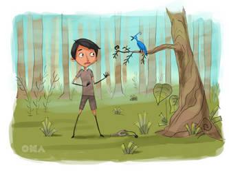 A Boy and A Bird by johantri