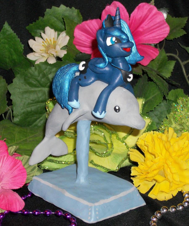 FIM  LUNA Riding Dolphin by MadPonyScientist