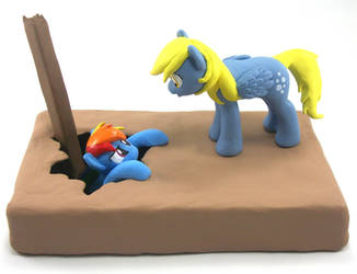 Talking Derpy Hooves and Rainbow Dash sculpture by MadPonyScientist
