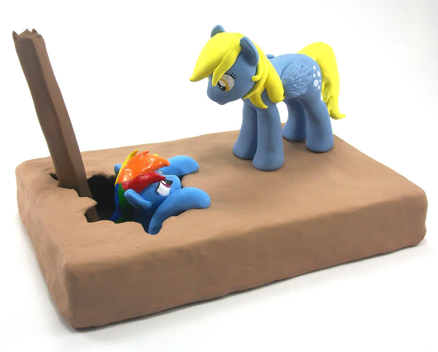 Talking Derpy Hooves and Rainbow Dash sculpture 2 by MadPonyScientist
