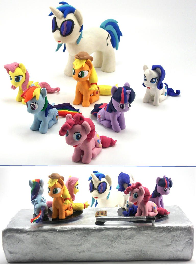 DJ PON-3 with Turntable and the MANE 6 custom 4 by MadPonyScientist
