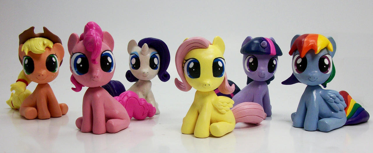 Mane 6 Filly Head Turner custom sculptures 2 by MadPonyScientist