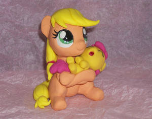 Filly Applejack with Baby Apple Bloom