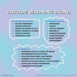 Suicide Warning signs rules