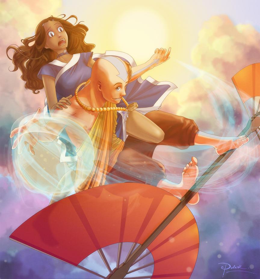 Airsurf Katara n Aang by palnk