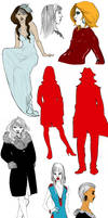 Women and a man's silhouette