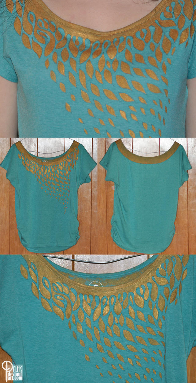 Aquamarine and gold painted shirt by palnk