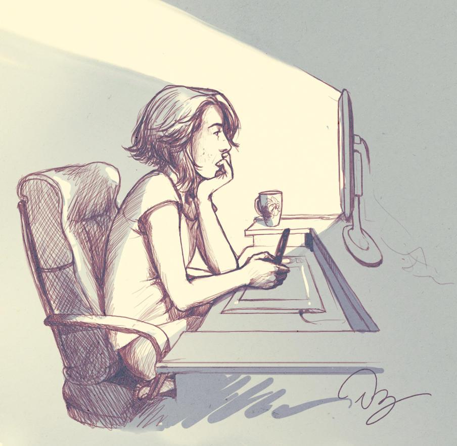 Sketchy Self Portrait by palnk