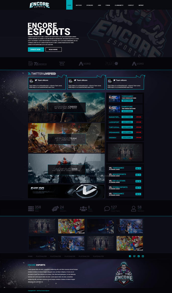 Encore eSport Website Design and Coding (sold) by KR-Designs2015