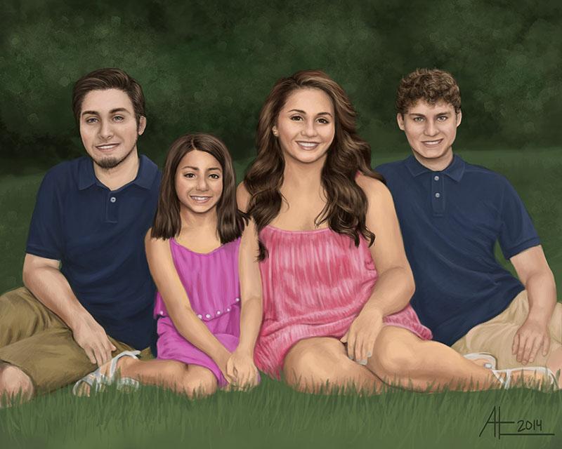 Four Siblings Portrait by bugsandbears
