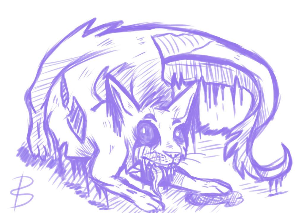 cat Wolf Dragon Sketch by Honeydrew1000
