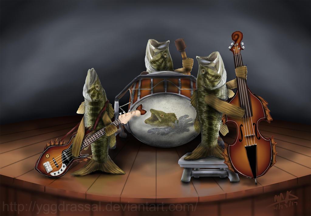 Bass Playing Bass by Yggdrassal