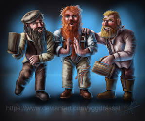 Three Drunk Dwarves by Yggdrassal