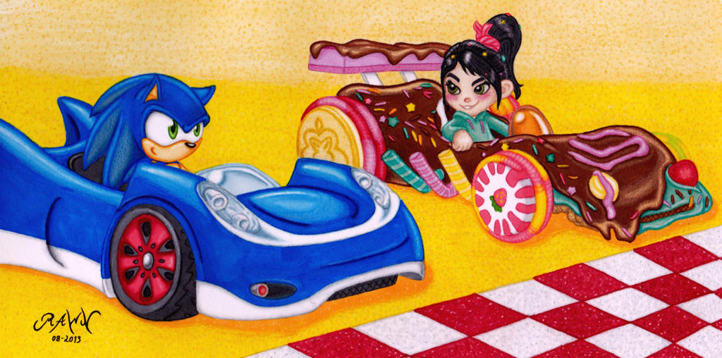 Sonic And Vanellope Sweet Ride By Rawn89 On Deviantart