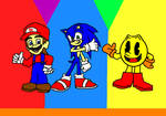 Sonic, Mario, and Pac Man.