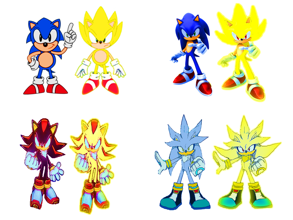 classic and modern super sonic shadow and silver by