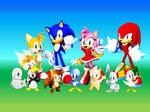 Sonic, Tails, Amy, Knuckles and Flickies Animals