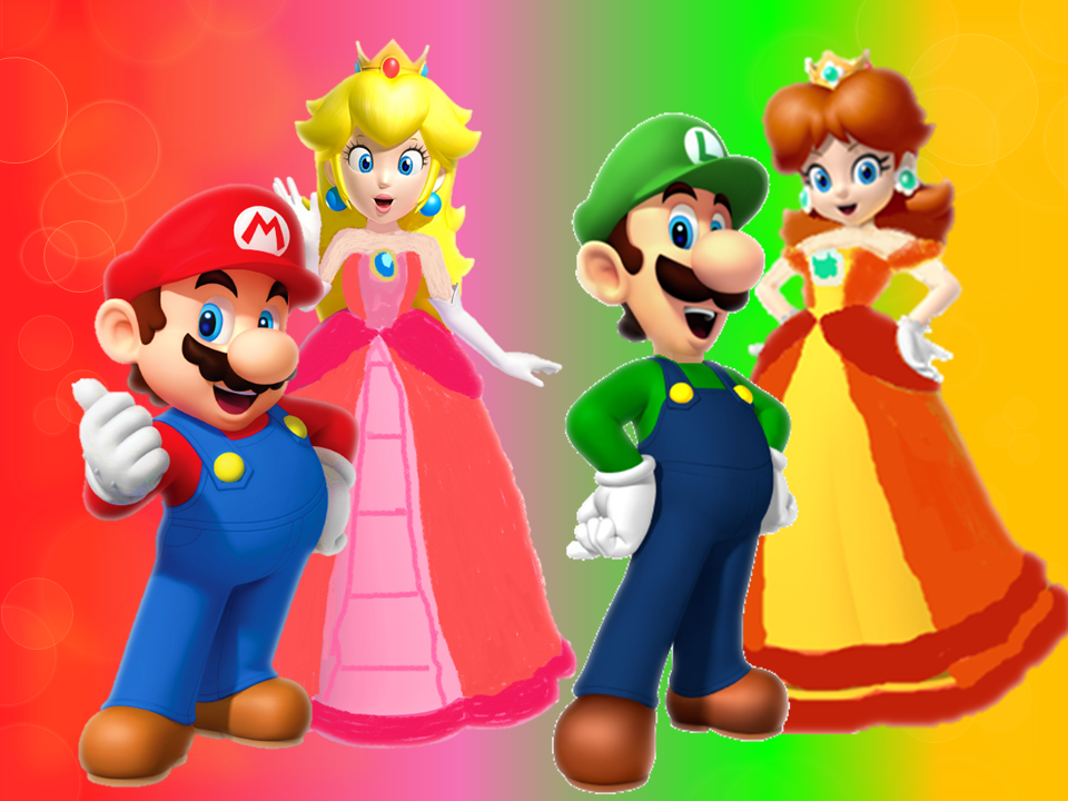 Mario, Peach, and Luigi and Daisy by 9029561 on DeviantArt