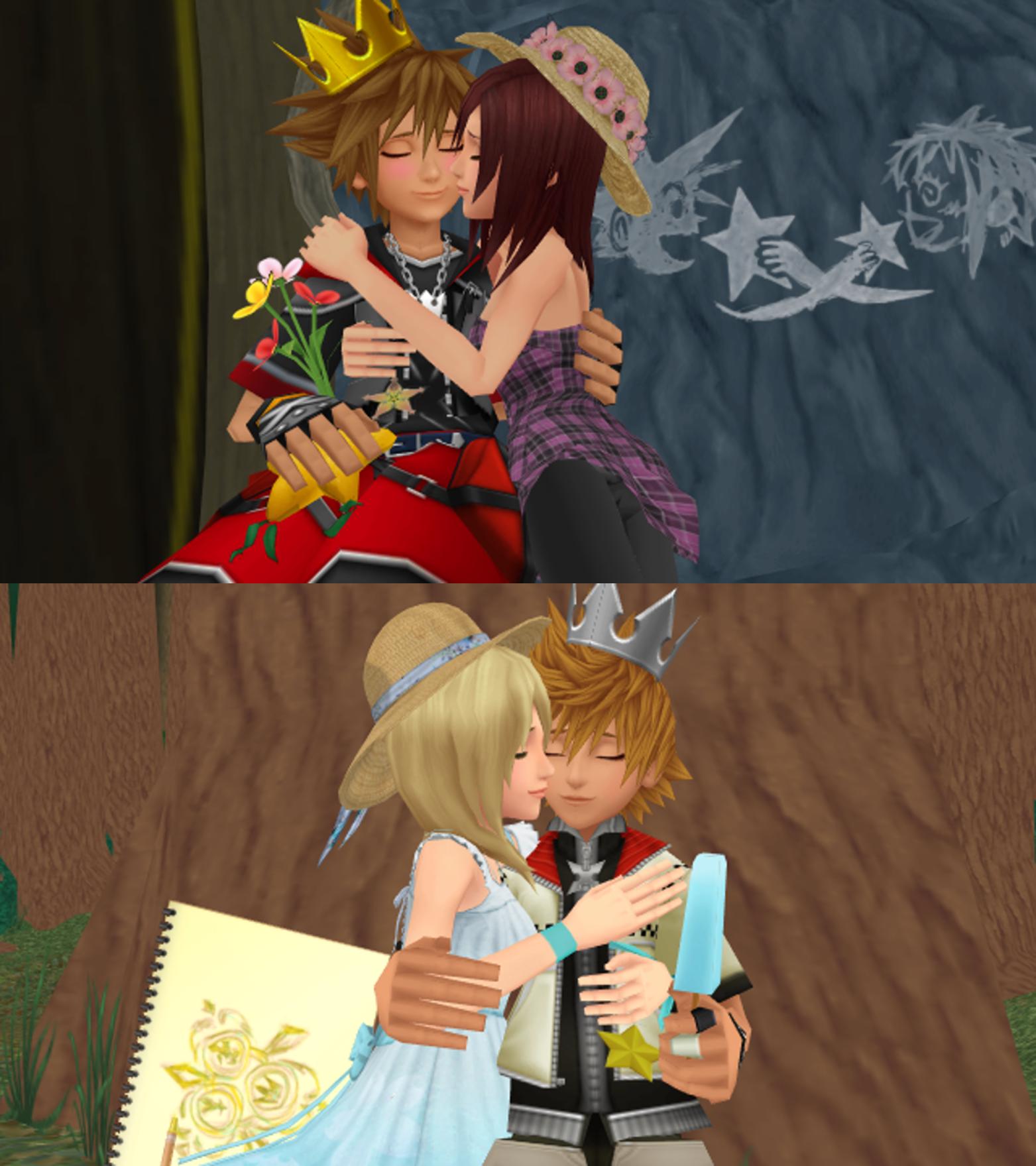 If Kingdom Hearts Met Anime By Takuyarawr On Deviantart: Last Sora X Kairi And Roxas X Namine Sweet Kiss By 9029561