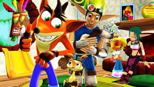Crash and Jak and Daxter Hanging out