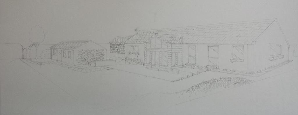 Architectural Drawing Commission - Pencil Draft by TheKinkyBeast
