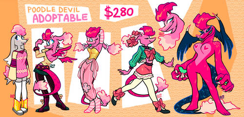 [CLOSED] REF ADOPTABLE - Devil Poodle by neonUFO