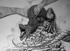 Dragon - pen by SaraMFDraws