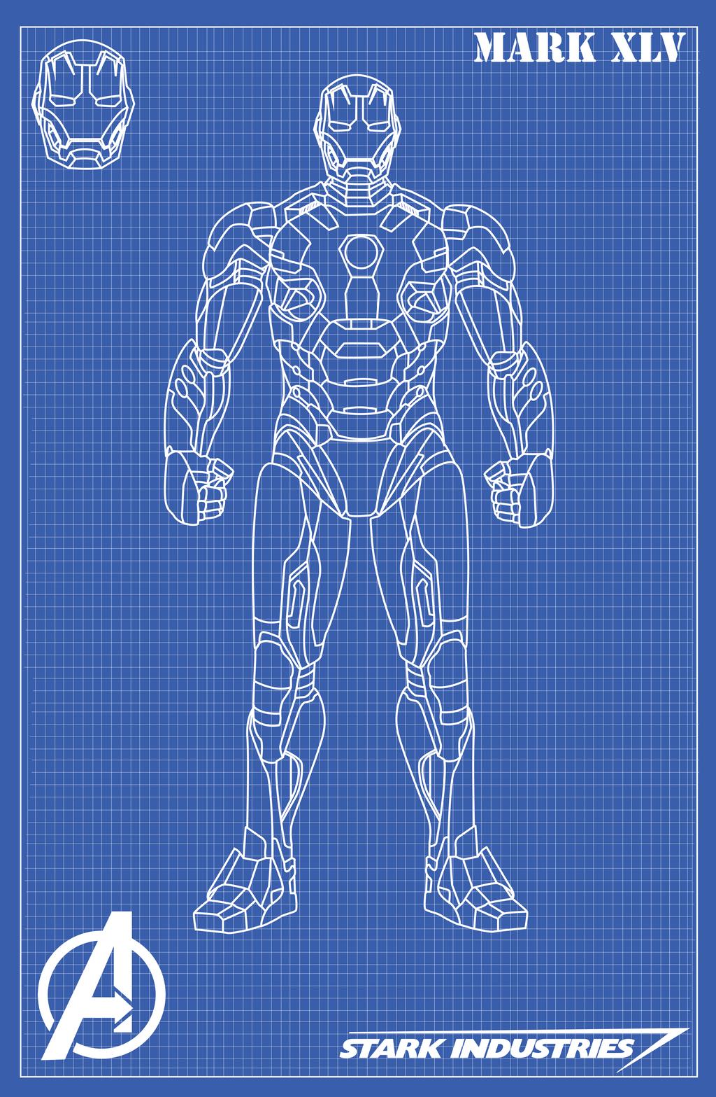 Iron man mark xlv blueprints by nickgonzales7 on deviantart for Plan d iron man