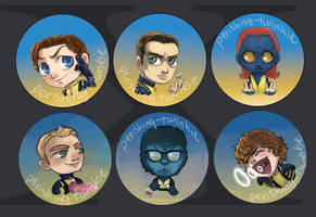 X-Men: First Class buttons by perishing-twinkie