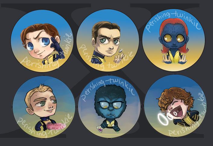 X-Men: First Class buttons by perishing-twinkie on DeviantArt