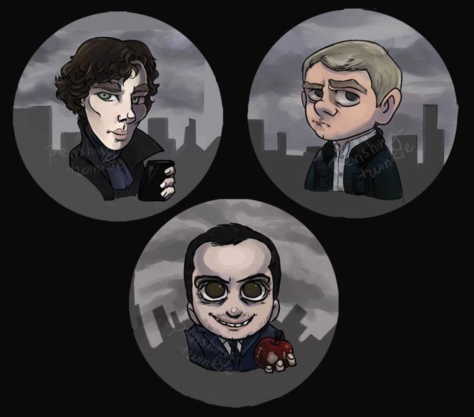 Sherlock BBC Buttons by perishing-twinkie