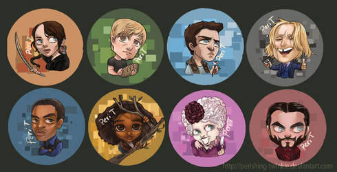 Hunger Games Buttons by perishing-twinkie