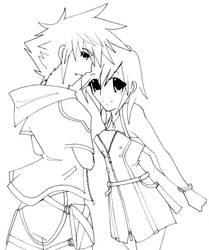 Sora and Kairi -art trade- by anime-dragon-tamer