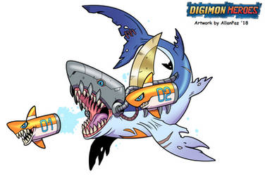 Digimon: Heroes - Sharkmon 2018 by HewyToonmore