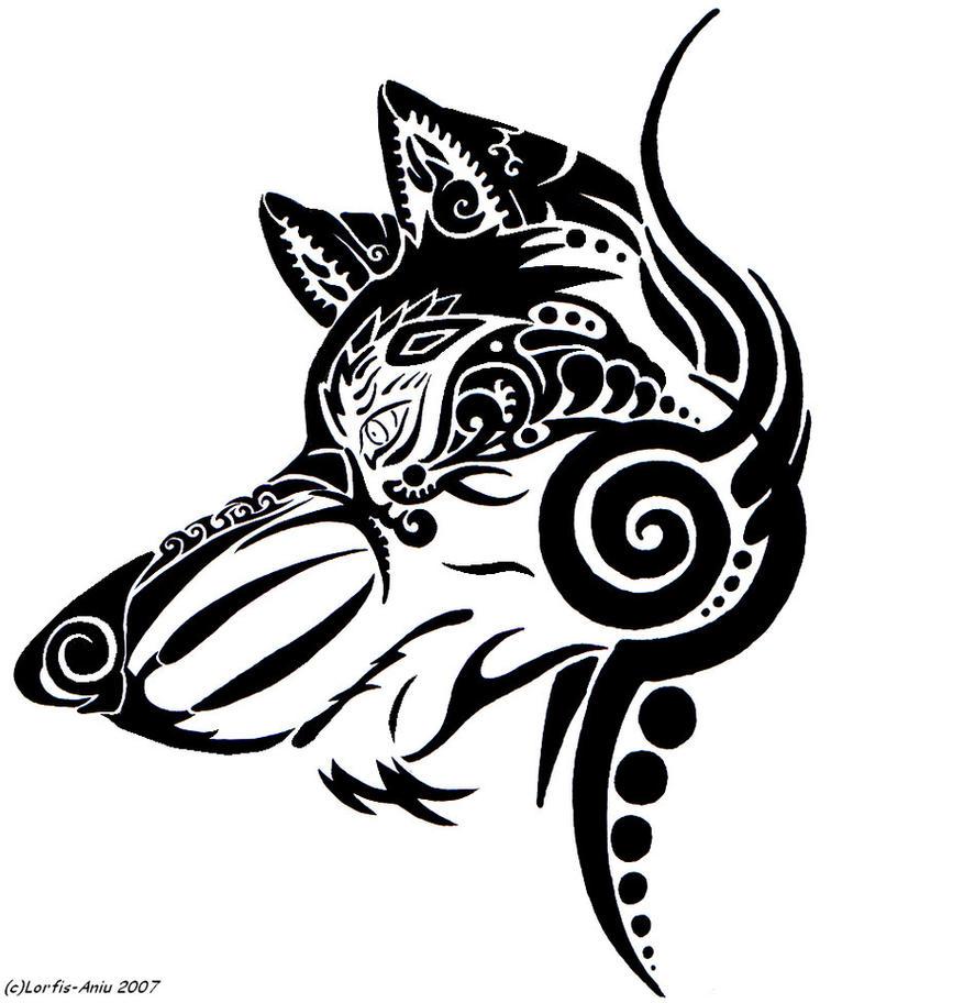 Tribal dog head tattoo