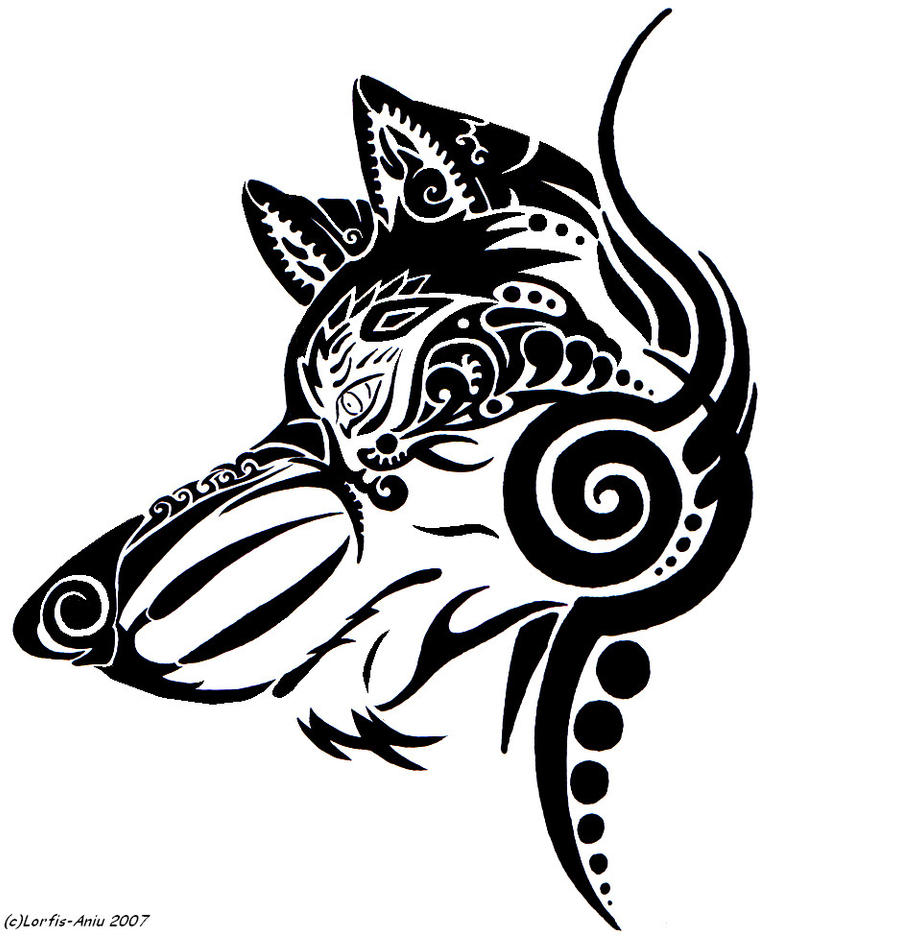 Dog Tribal Tattoo Designs