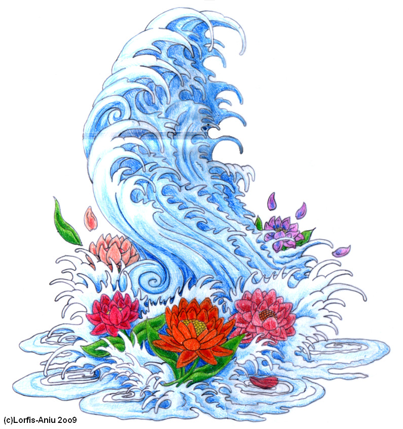 Japanese wave n lotto flowers by lorfis aniu on deviantart for Japanese wave and flower tattoo